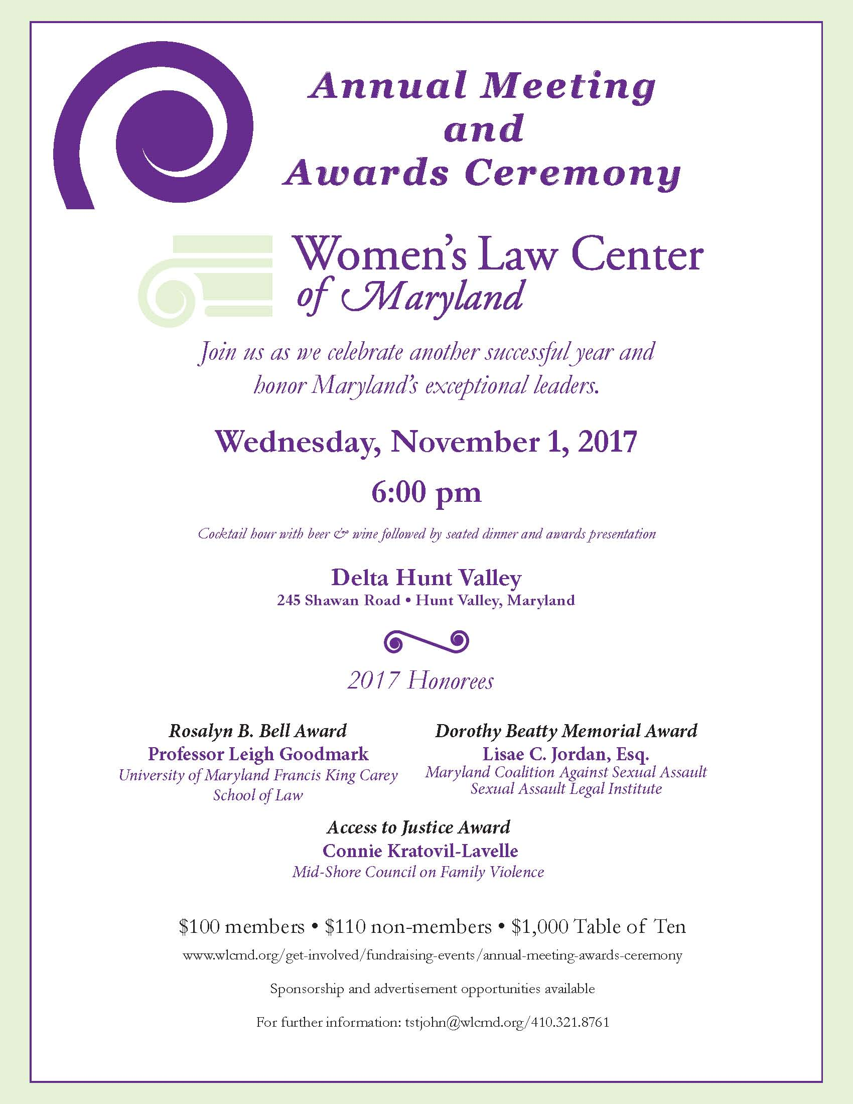 Women's Law Center of Maryland Annual Meeting and Award Ceremony
